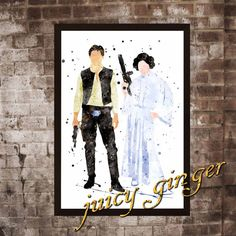 Han Solo and Leila watercolor Star Wars Art by juicyginger on Etsy