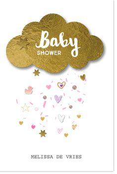LOVZ.NL  Uniek babyshowerkaartje voor een meisje met goud folie wolkje (look) ! Met confetti snippers en inhoudelijke versierde elementjes zoals badeend, sterretjes en hartjes. Zelf maken!