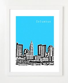 Columbus Art Print   City Skyline Poster 8x10  by BugsyAndSprite, $20.00