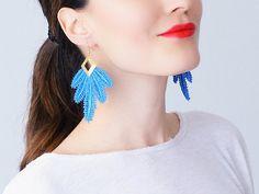 Clavesa // Blue Earrings/ Statement Earrings/ Lace Earrings/ Boho Earrings/ Long Earrings/ Leaf Earrings/ Fashion Earrings/ Gift For Her