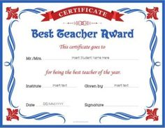 Worlds best teacher award certificate pre k graduation best teacher award certificate template for ms word download at httpcertificatesinn yadclub Gallery