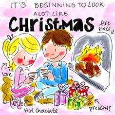 Blond Amsterdam kerstkaart met haardvuur en kado´s-