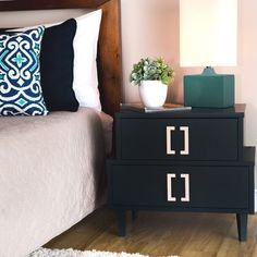 Navy Empire Two Drawer Nightstand Bedroom Furniture Rubberwood Blue Finish #ILoveLiving