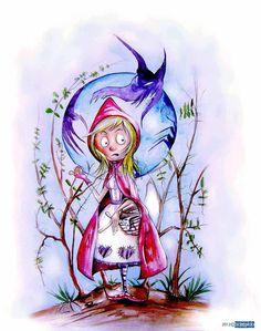 """Caperucita Roja, ©Domingo Guzmán, 2012 Ilustración basada en el famoso personaje de los cuentos clásicos """"Caperucita Roja"""". El ilustrador Domingo Guzmán ha recreado a su estilo este icono de la literatura universal."""
