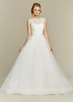 <p>Sunshine</p>Ivory lace and tulle bridal ball gown, jewel neckline and keyhole back, scallop cap sleeve and full tulle skirt. Also available as a crop top gown (see style 1553, Sunny). Bridal Gowns, Wedding Dresses - Jim Hjelm Blush  - JLM Couture Inc. - Bridal Style 1561 by JLM Couture, Inc.