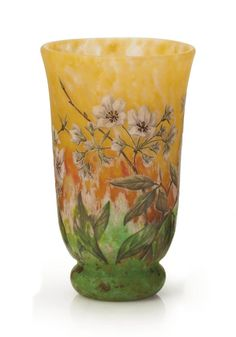 A FRENCH ENAMELED AND CAMEO GLASS VASE BY DAUM FRÈRES, CIRCA 1905