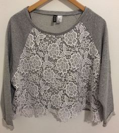 H&M Divided Juniors XL Extra Large Gray Crop Top Sweatshirt w/White Lace Overlay #HM #CropTop