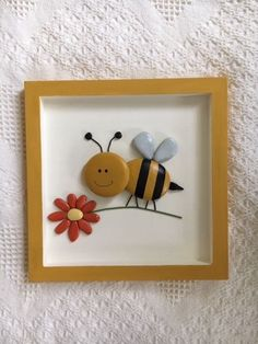 Bumble bee framed pebble art, bumble bee decor Bumble bee pebble art, bumble decor for nursery or ki Stone Crafts, Rock Crafts, Diy And Crafts, Arts And Crafts, Pebble Painting, Pebble Art, Stone Painting, Button Art, Button Crafts