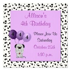 Childs 4th Birthday Party Invitation Purple Pink Invitations