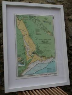 Hand Cut 3D Nautical Chart of the River Exe - A2 size - made to order  See further images on my Facebook and Twitter pages:  https://twitter.com/Landfall3DArt