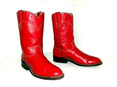 Rockin Red Leather Vintage Roper style cowboy boots by honeyblossomstudio