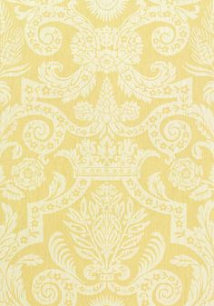 Harvard Damask #wallpaper in #yellow from the Anniversary collection. #Thibaut