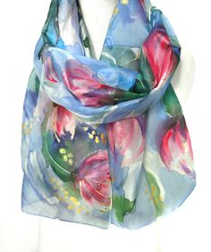 Tulips Scarf. Hand Painted Silk Scarf. Floral Gift. by TeresaMare