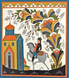 Swedish Folk Art - Leif Sodergren the Scale of motifs is what charms me Art And Illustration, Man On Horse, Russian Folk Art, Scandinavian Folk Art, Horse Print, Naive Art, Tole Painting, Folklore, Fine Art America