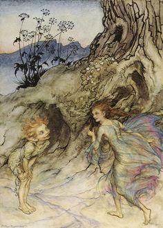 Puck and a fairy from A Midsummer's Nights Dream. Arthur Rackham
