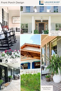 All set for spring! We're looking forward to plenty of front porch time in our near future – the only thing missing is a glass of cold lemonade. #louvershop #madeintheUSA #windows #windowtreatments #design #designinspo #decorinspo #renovation #homedecor#homeinspo #homeideas #frontporch #farmhouseinspo #farmhousedecor #farmhouse Exterior Shutters, Front Porch Design, Shades Blinds, Window Treatments, Lemonade, The Hamptons, Farmhouse Decor, Beautiful Homes, Windows