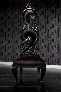 Black Velvet Baroque High Back Chair by Janny Dangerous