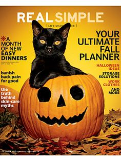 real simple magazine cover october 2013 | Behind-the-Scenes: It's Not 'Real Simple' to Pose a Cat in a Pumpkin