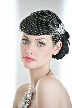 Edith Birdcage Veil, wedding veil, bridal veil, deco, ivory veil. headband Wedding hair accessory Bridal hair accessory Ready to ship. $93.00, via Etsy.