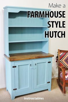 Make a farmhouse style hutch with a solid oak countertop and a pair of hidden so. - - Make a farmhouse style hutch with a solid oak countertop and a pair of hidden solid maple hanging drawers inside the lower cabinet. Hutch Furniture, Mission Furniture, Farmhouse Furniture, Pallet Furniture, Furniture Projects, Furniture Online, Furniture Stores, Diy Projects, Furniture Removal