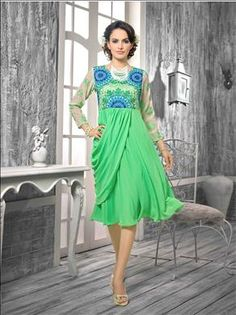take your ordinary look to an most desired outstanding took with us. Beautiful Bottle Green color kurti only at xeroshop.com