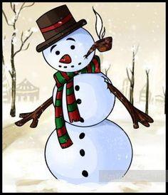 Lekce postupné výkres sněhuláka