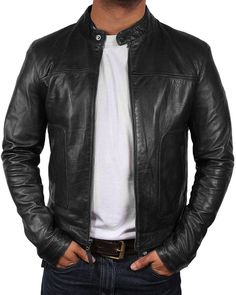 """If this is the case then you must look for the Biker style motorcycle """"men's black slim fit biker cafe racer"""" black leather jacket. Cafe Racer Leather Jacket, Cafe Racer Jacket, Leather Jacket Outfits, Men's Leather Jacket, Leather Men, Leather Jackets, Black Leather, Vintage Cafe Racer, Revival Clothing"""