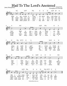 Free Lead Sheet – Hail To The Lord's Anointed(Ellacombe) Free Sheet Music, Piano Sheet Music, Lead Sheet, Lord, Christmas Music, Sheet Music, Piano Music