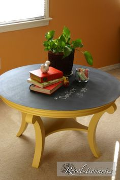 Chalk Board Coffee Table--I love this shape!  I want a circle coffee table.
