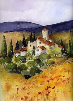 Impression photo 'Evening in Tuscany' par artbyrachel Watercolor Architecture, Watercolor Landscape, Landscape Art, Landscape Paintings, Watercolor Art, Watercolor Pictures, Watercolor Techniques, Pictures To Paint, Painting Inspiration