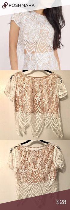 770c671837 Festival wear - White Fantasy Lace Crop Top **Perfect for festivals** Tobi  - Fantasy Lace Crop Top -Front of the shirt has nude lining, back does not  (see ...