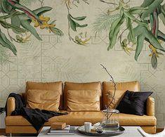 Gris* Green canna floral border wallpaper oil painting design by digital printer elegant wall mural Exterior Design, Interior And Exterior, Green Wall Decor, Leaf Flowers, Wall Treatments, Custom Wallpaper, Tropical Leaves, Flower Wallpaper, Paint Designs