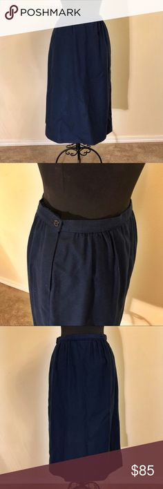 Vintage 1950's Navy Blue Pendleton Skirt This Pendleton skirt is beautiful! It does say that it is a size 14 on the tag; but the sizing in the 1950's is different than the sizing of today. A 1950's size 14 is more like a size 4-8 today.  The skirt is 100% Virgin Wool and has a beautiful silk liner. So it is dry clean only. Pendleton Skirts Pencil