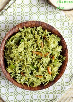Cilantro rice or coriander rice recipe, very tasty, quick and healthy rice with cilantro and vegetables! Recipe