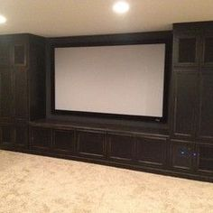 Built in cabinet to house screen and dvd's with curtains to cover screen