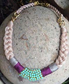 Collar trenza hilos y cadena cristales