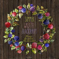 Wreath Summer Blackberries Watercolor Hand Painted, DIY elements, invite,  transparent, digital png,rustic decor