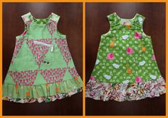 Green and Pink Reversible Isabelle Dress by MsPressersDresses.  Up-cycled from cool green and pink surfy board shorts.