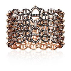 "Hermès Oceane ""6 Rows"" Bracelet In Rose Gold ($277,000) ❤ liked on Polyvore featuring jewelry, bracelets, j., vintage jewellery, vintage jewelry, vintage bangle, rose gold bangle and red gold jewelry"