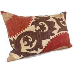 fahri clove red suzani decorative pillow cover lumbar pillow 12x18
