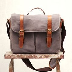 Camera Bag / Messenger Bag; Waxed Cotton Canvas and Genuine Leather
