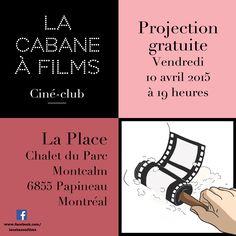 Flyer pour La Cabane à Films, Ciné-Club de la Petite-Patrie - Montréal - Québec
