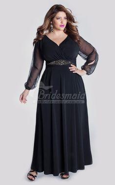 Elegant Dark Navy A Line V-Neck Plus Size Bridesmaid Dresses(PSDBB049)