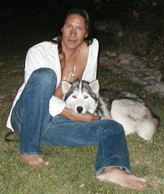 Rick Mora and one oh his huskies.
