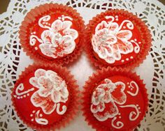 Royal icing painted cupcakes