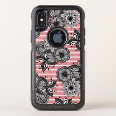 Modern Girly Flowers Leaves and White Pink Stripes OtterBox Commuter iPhone X Case - girly gifts special unique gift idea custom