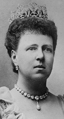 COBURG DIAMOND TIARA worn here by the Grand Duchess Marie Alexandrovna, Duchess consort of Saxe-Coburg-Gotha.