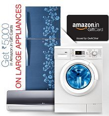 Amazon Large Appliance : Air Conditioners, Dishwashers, Refrigerators & Washing Machines 30% OFF + Upto Rs.5000 Amazon Gift Card - Best Online Offer