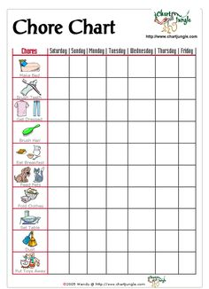A chore chart for the little ones who can't read, but can identify with the pictures!