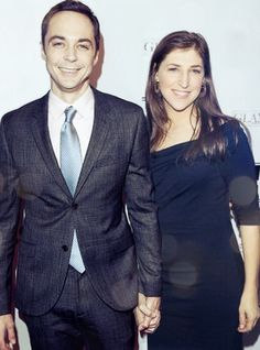 "Jim Parsons and Mayim Bialik from ""The Big Bang Theory"""